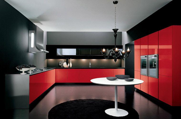 Cuisine Moderne Rouge Et Noir 1 Kitchen Kitchen Design Kitchen