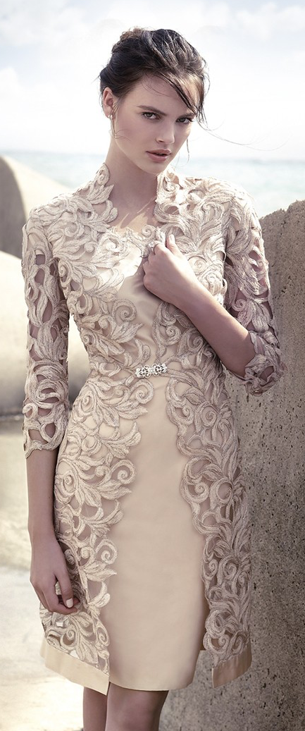Carla Ruiz Dress - the two piece, overlay look is cute. Would be extremely elegant in a long gown