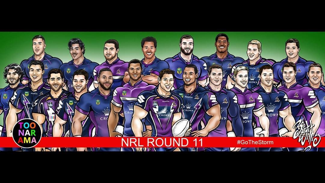 Team Toon Nrl Round 11 Melbourne Storm V South Sydney Rabbitohs In Western Australia Rugby League Football Ce Nrl Australia Rugby Rugby Gifts