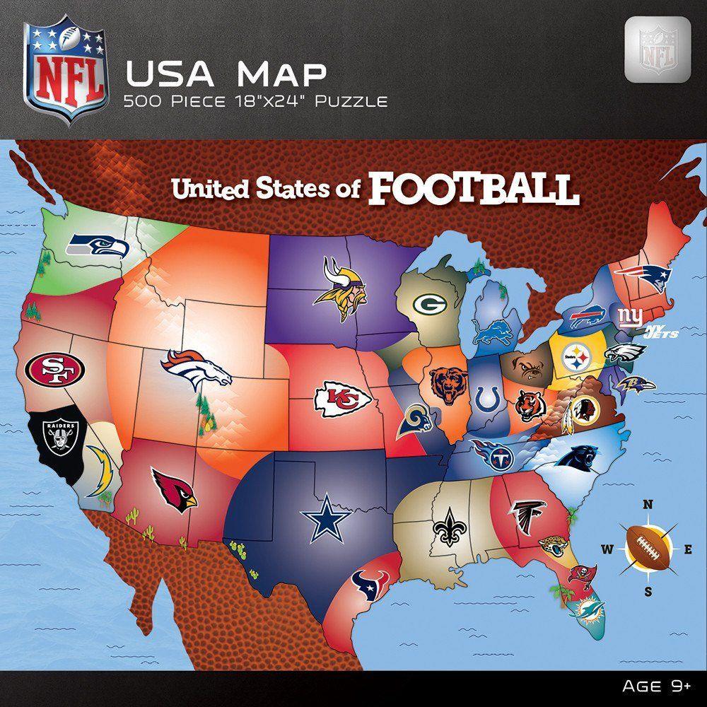 NFL USA Map - 500 Piece Jigsaw Puzzle | Puzzles | Pinterest | Map ...