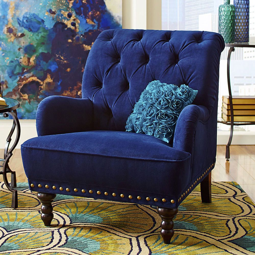 Blue Velvet Tufted Arm Chair Navy Royal Accent Steampunk Victorian