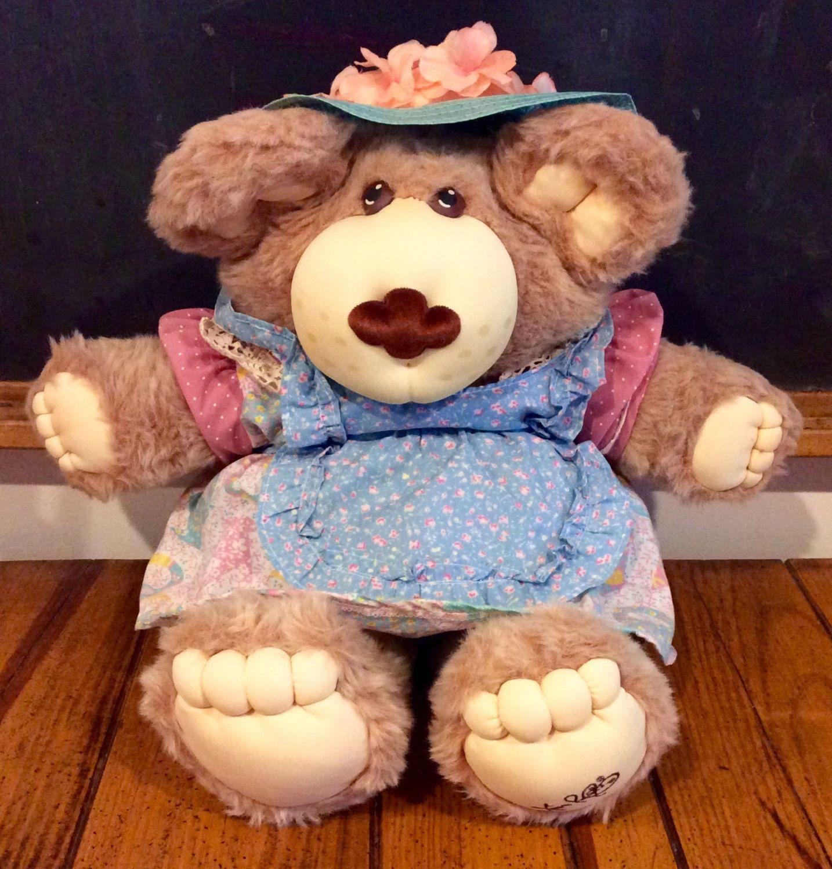 1985 Hattie Furskin Cabbage Patch Kids Cousin Plush Bear Coleco Furskins Xavier Roberts Furskins Large Fur Cabbage Patch Kids Bear Plush Antique Teddy Bears