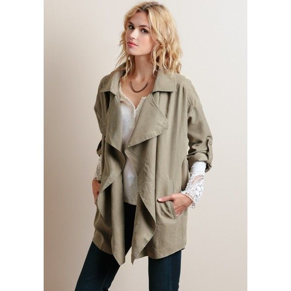 Written Plan Draped Jacket (85 CAD) ❤ liked on Polyvore featuring outerwear, jackets, 3/4 sleeve jacket, light weight jacket, oversized jacket, brown jacket and open front jacket