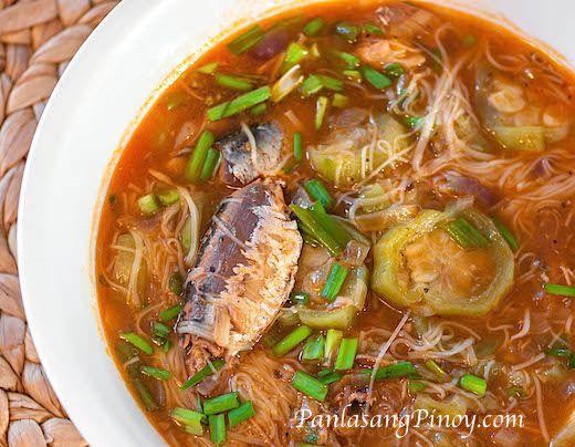 Sardines With Misua And Patola Recipe Panlasang Pinoy Recipe Misua Recipe Filipino Recipes Sardine Recipes