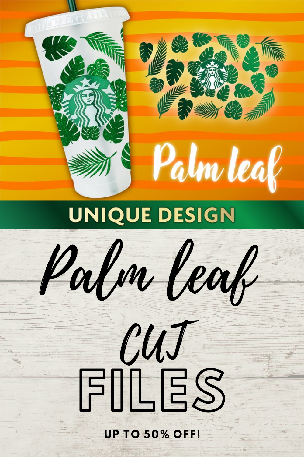 Palm leaf personalized Starbucks cup SVG, Cricut, Vector