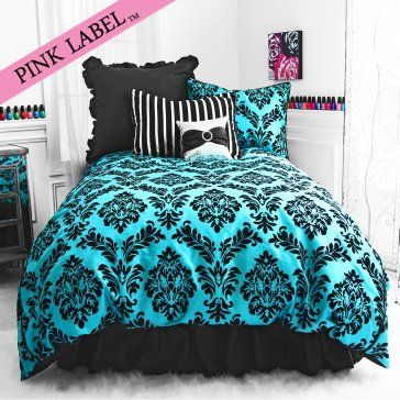black & turquoise teal blue comforter set elegant scroll teen girl