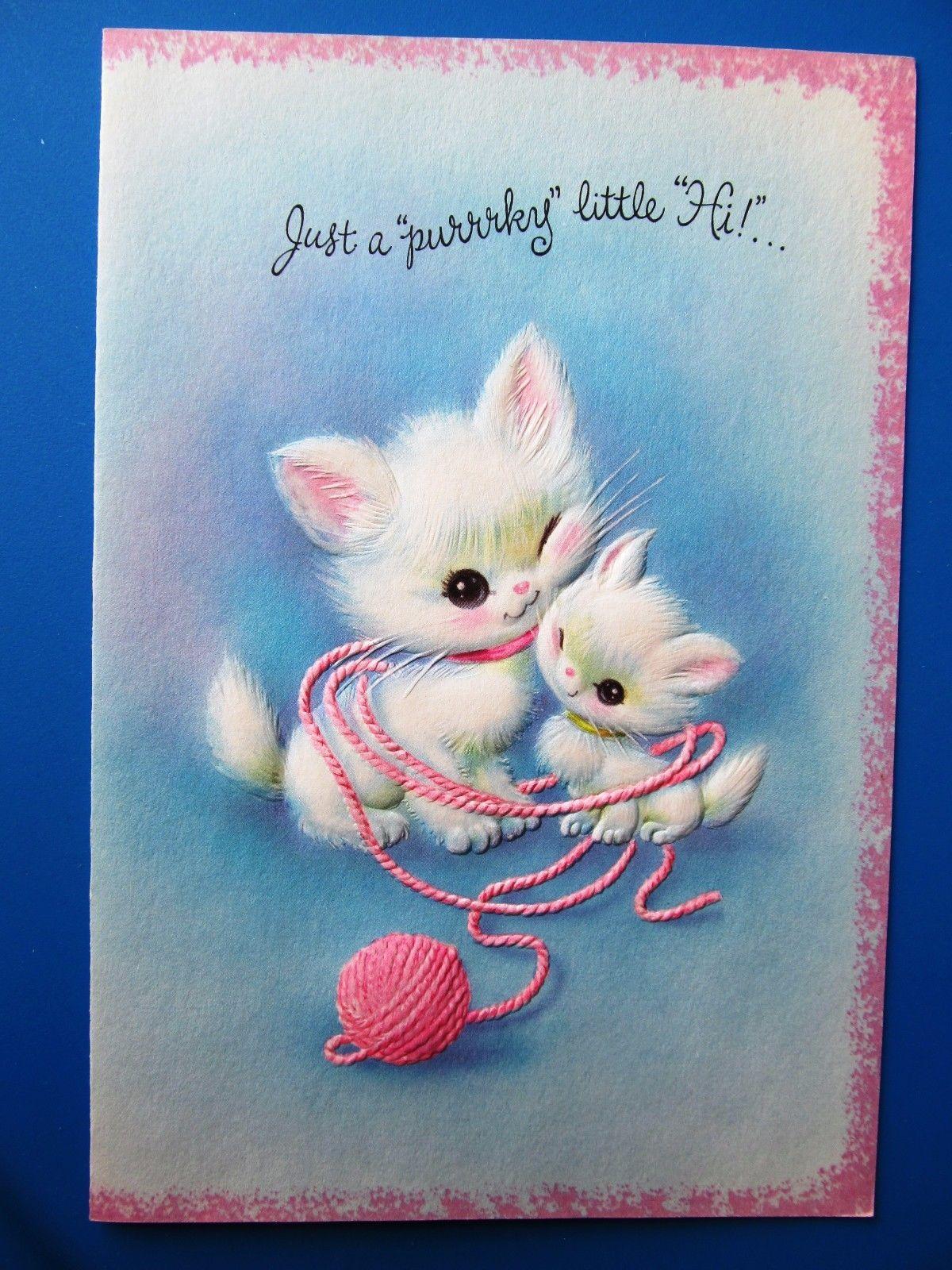 White Kittens Cats Playing w Pink Yarn
