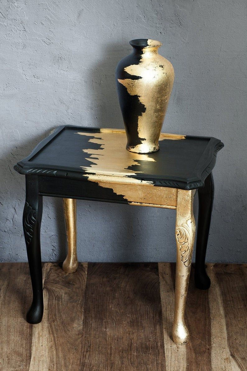 Photo of Coffee Table furniture vintage table furniture gold leaf wooden handmade black and gold vase Living room bedroom side hallway table unique