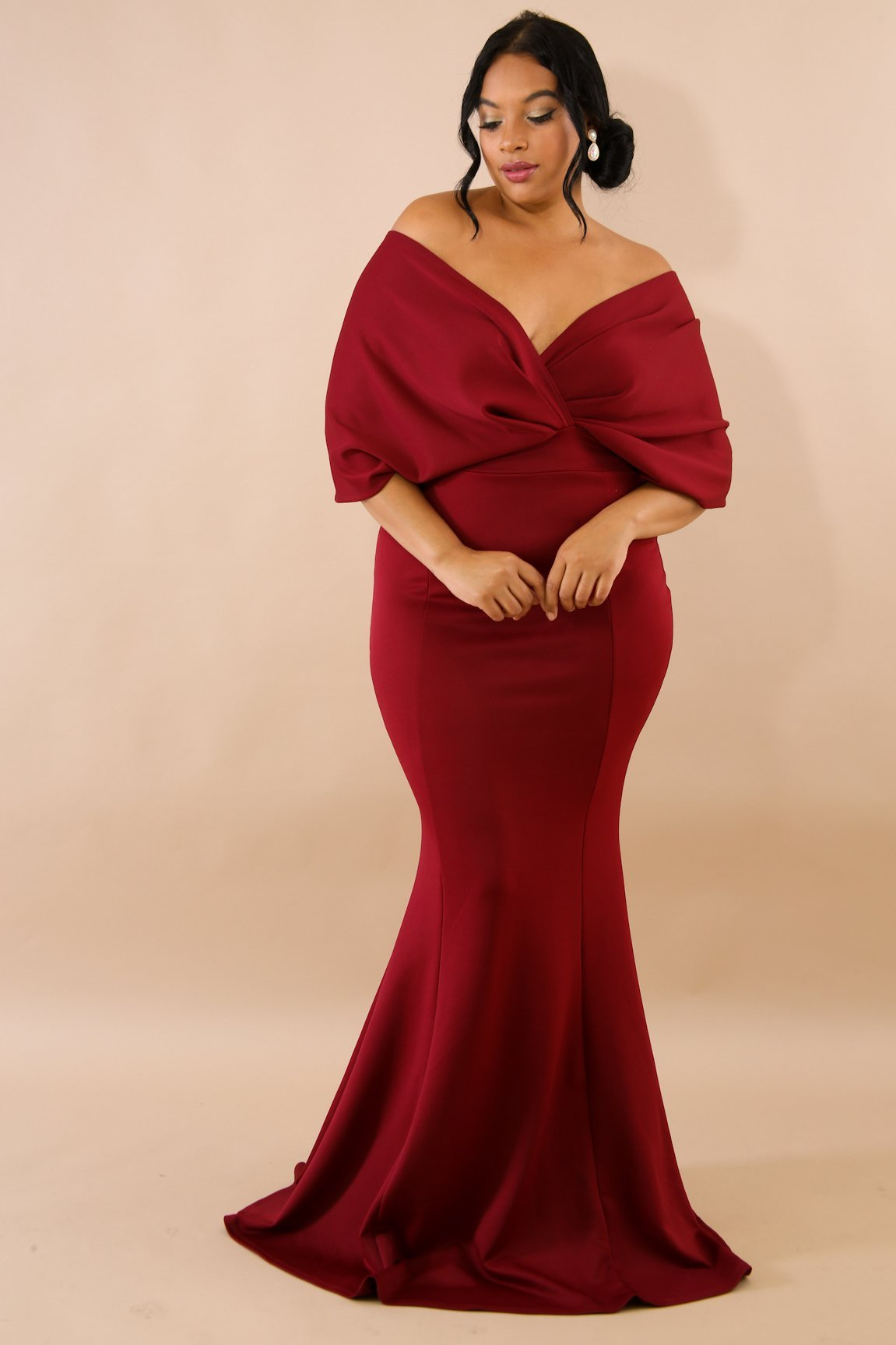 Glamorous Womens Belted Off The Shoulder Maxi Dress