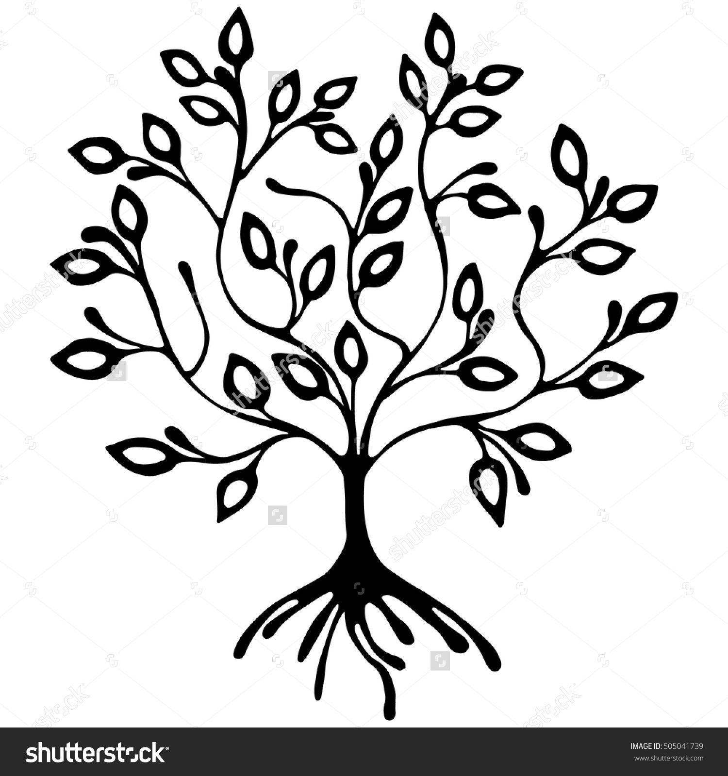 Vector hand drawn illustration decorative ornamental stylized tree