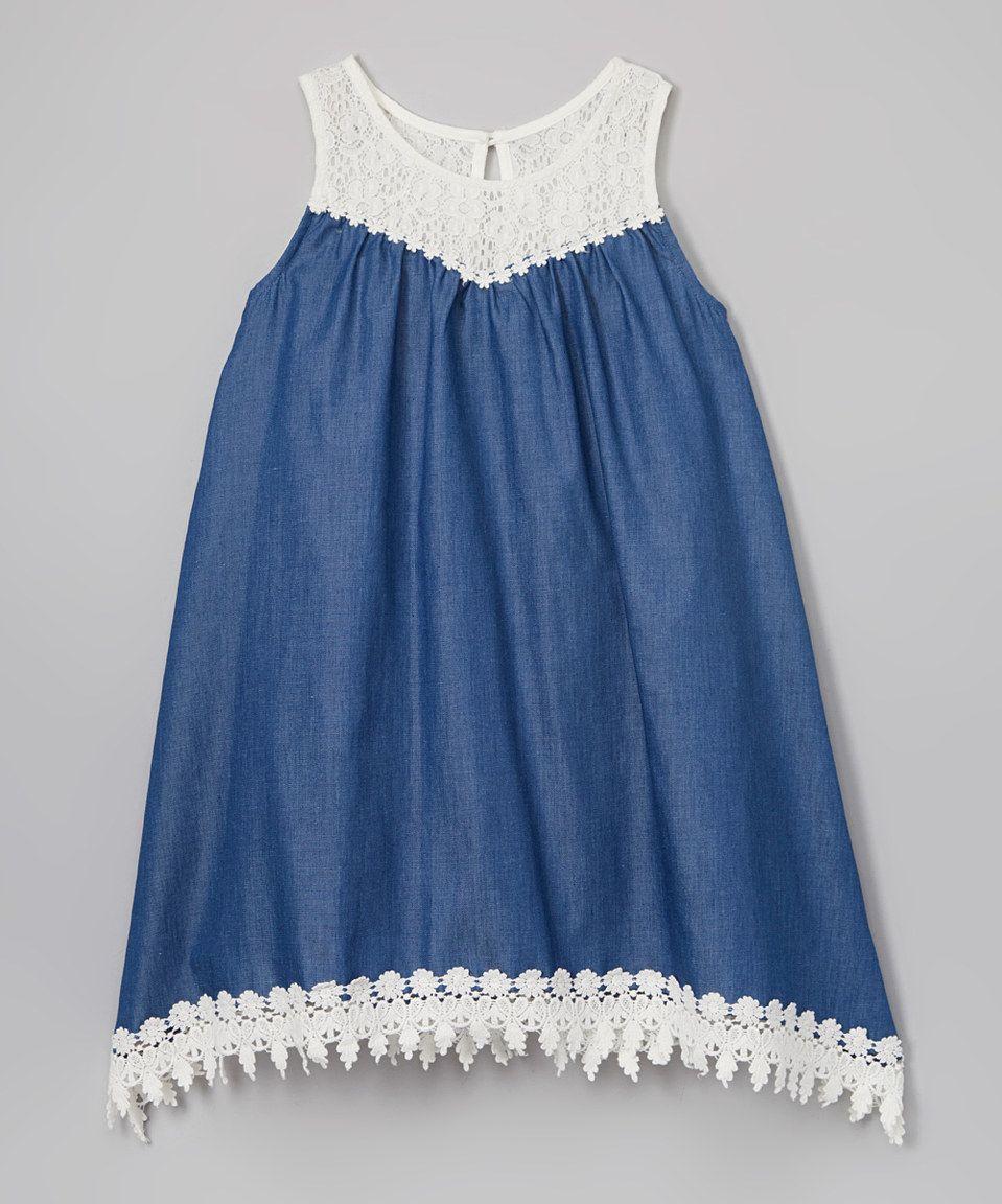 216db429ce Another great find on  zulily! Zunie Denim   Ivory Lace Shift Dress -  Toddler   Girls by Zunie  zulilyfinds