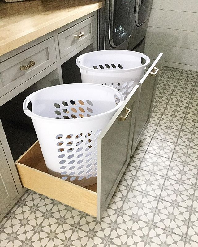 """Pull Out """"doors"""" For Hidden Dirty Clothes -- Great Idea"""