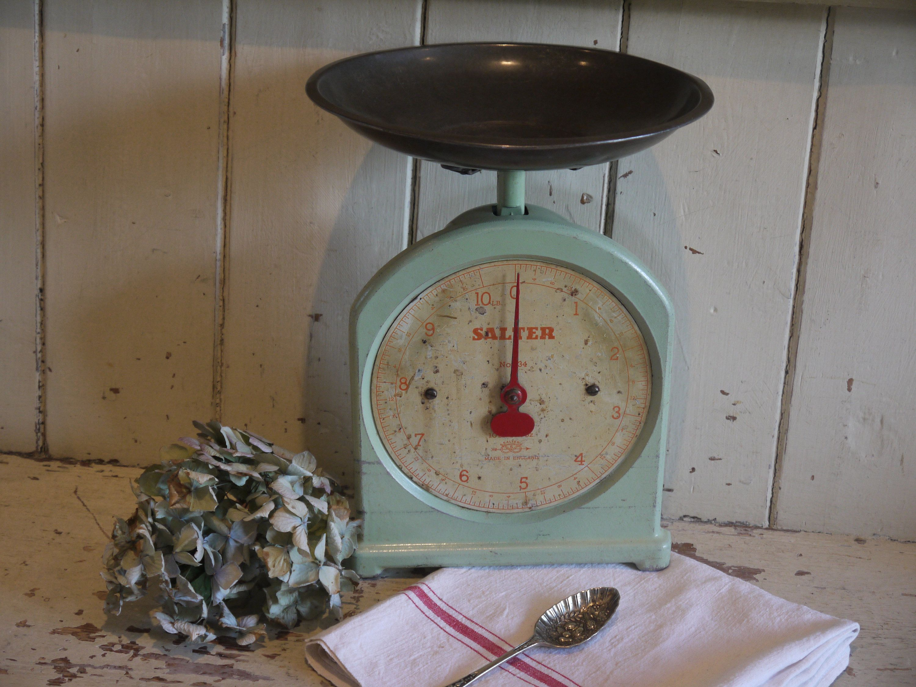 Rustic Weighing Scales Salter Pastel Green Kitchen Scale