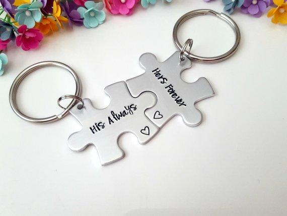 Boyfriend Gift, Couple Keychains, Personalized Keychain, His Always