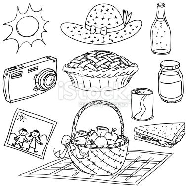 Picnic elements illustration in black and white stock vector art 20646379 - iStock