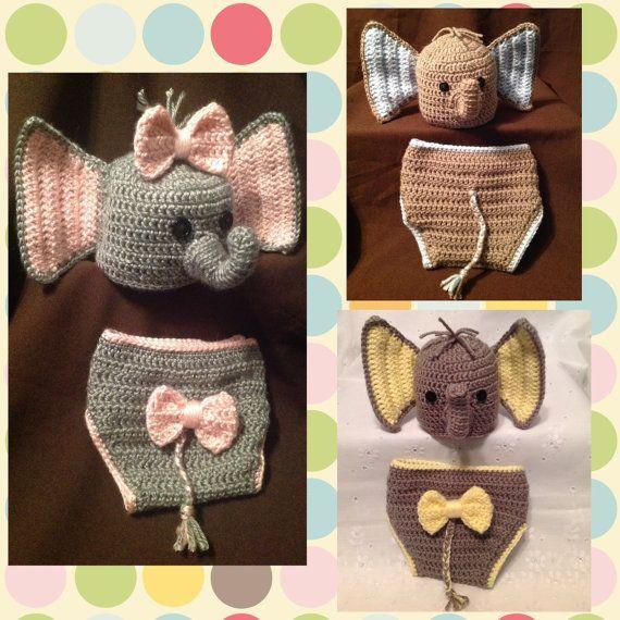 08264280095 Crochet Newborn Baby Elephant hat   diaper cover set in pink