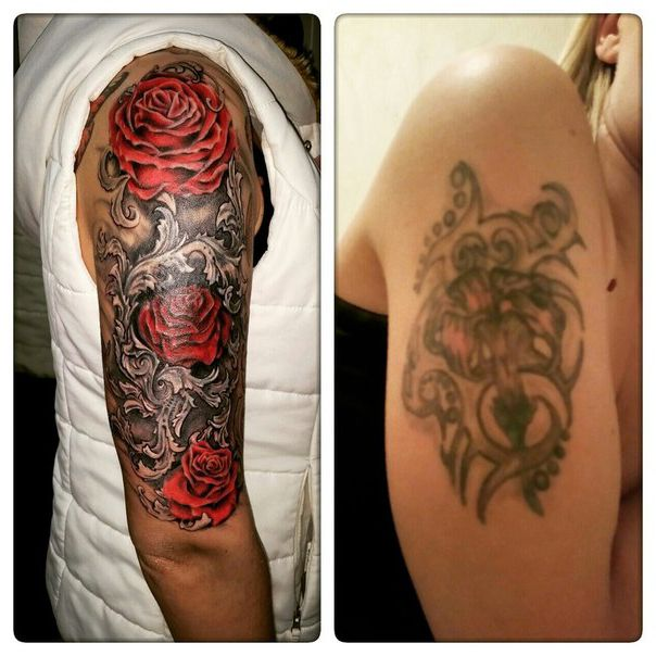 Tattoo Ideas Cover Ups: Incredible Rose Bush Cover Up Tattoo Design