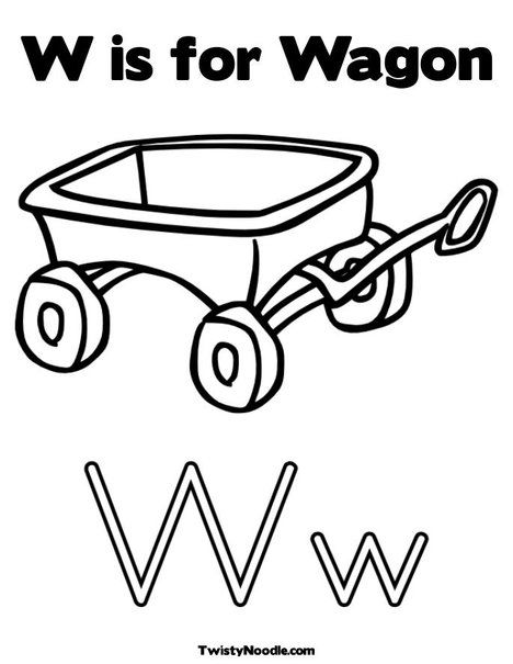 W Is For Wagon Coloring Page With Images Preschool Coloring