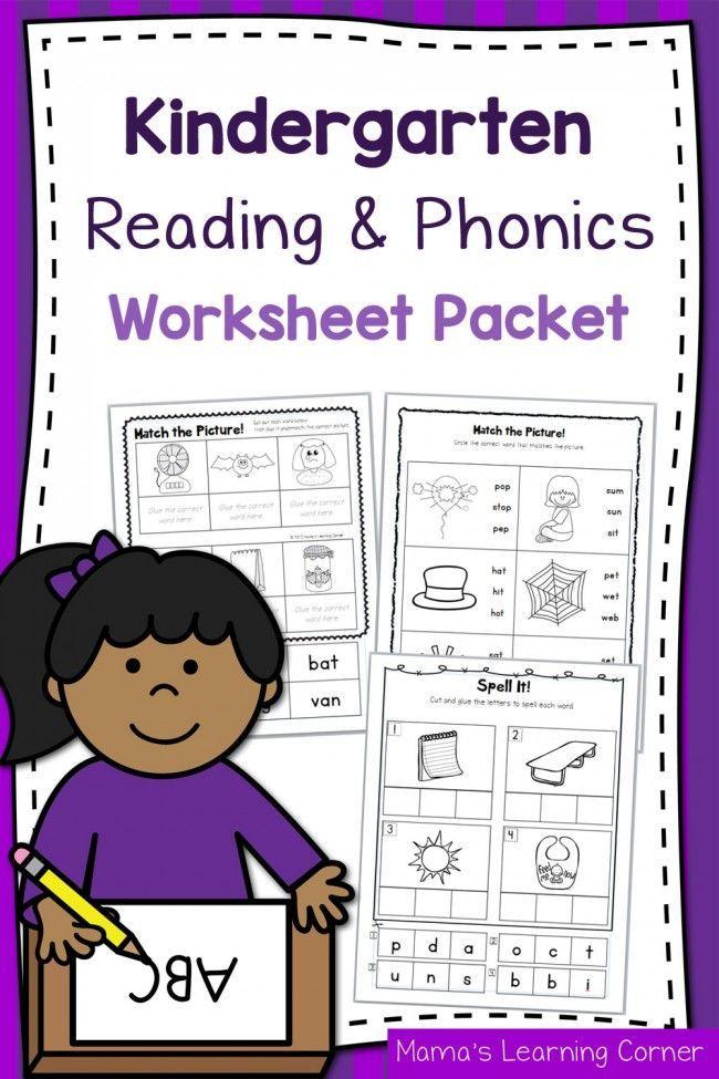 Kindergarten Reading And Phonics Worksheet Packet Kindergarten Reading Phonics Kindergarten Phonics Worksheets Worksheet packets for kindergarten