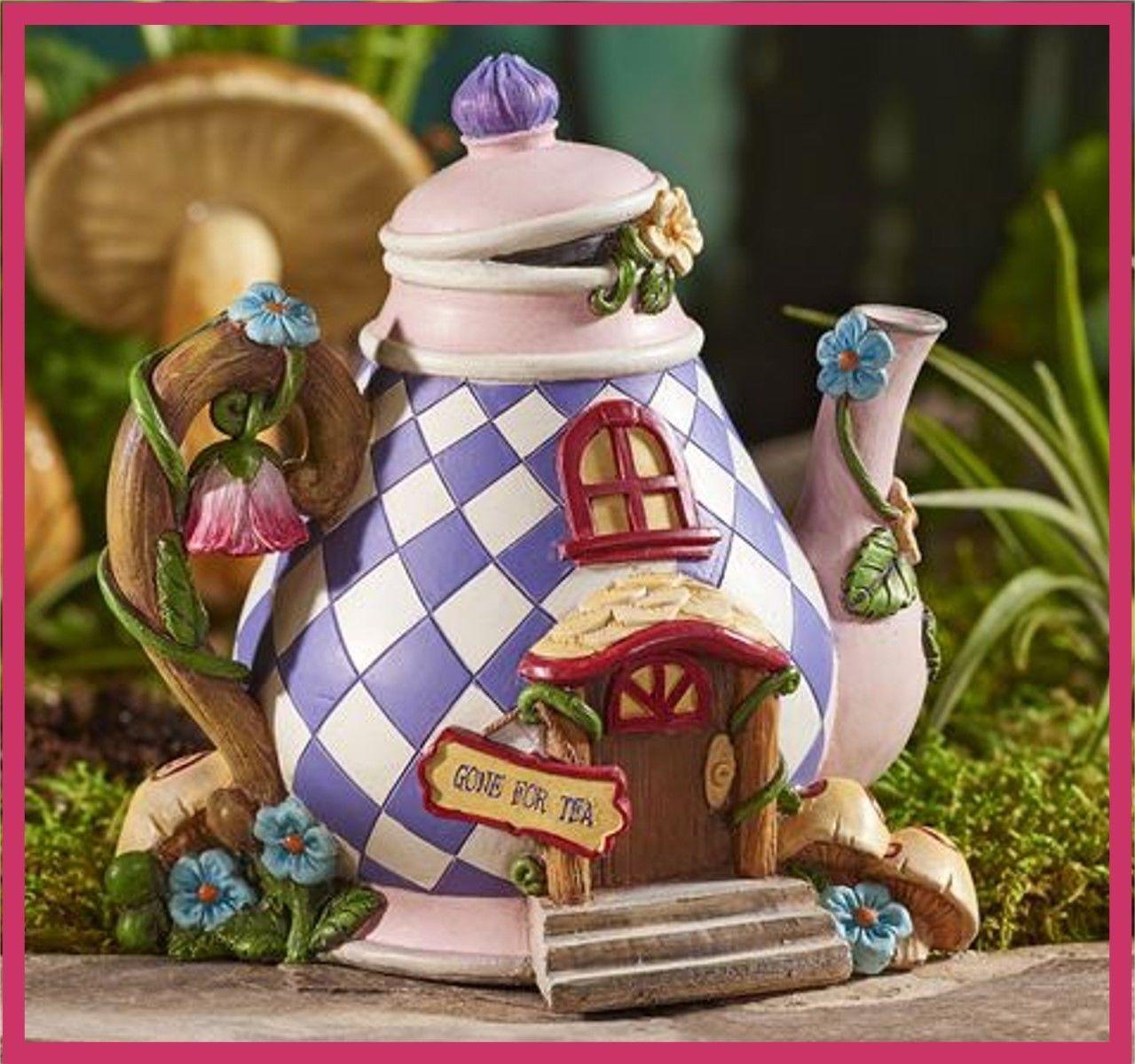 Fairy garden fun mini alice in wonderland teapot tea pot fairy house 325 f fairy house for Alice in wonderland fairy garden