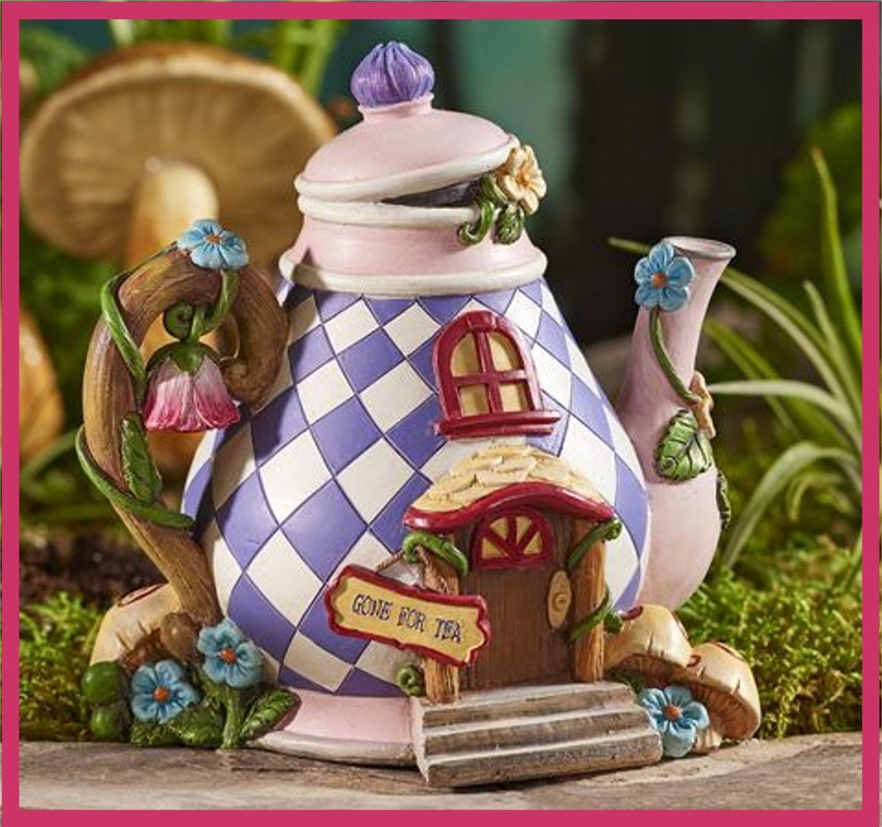 fairy garden fun mini alice in wonderland teapot tea pot fairy house 325 miniature gardens. Black Bedroom Furniture Sets. Home Design Ideas