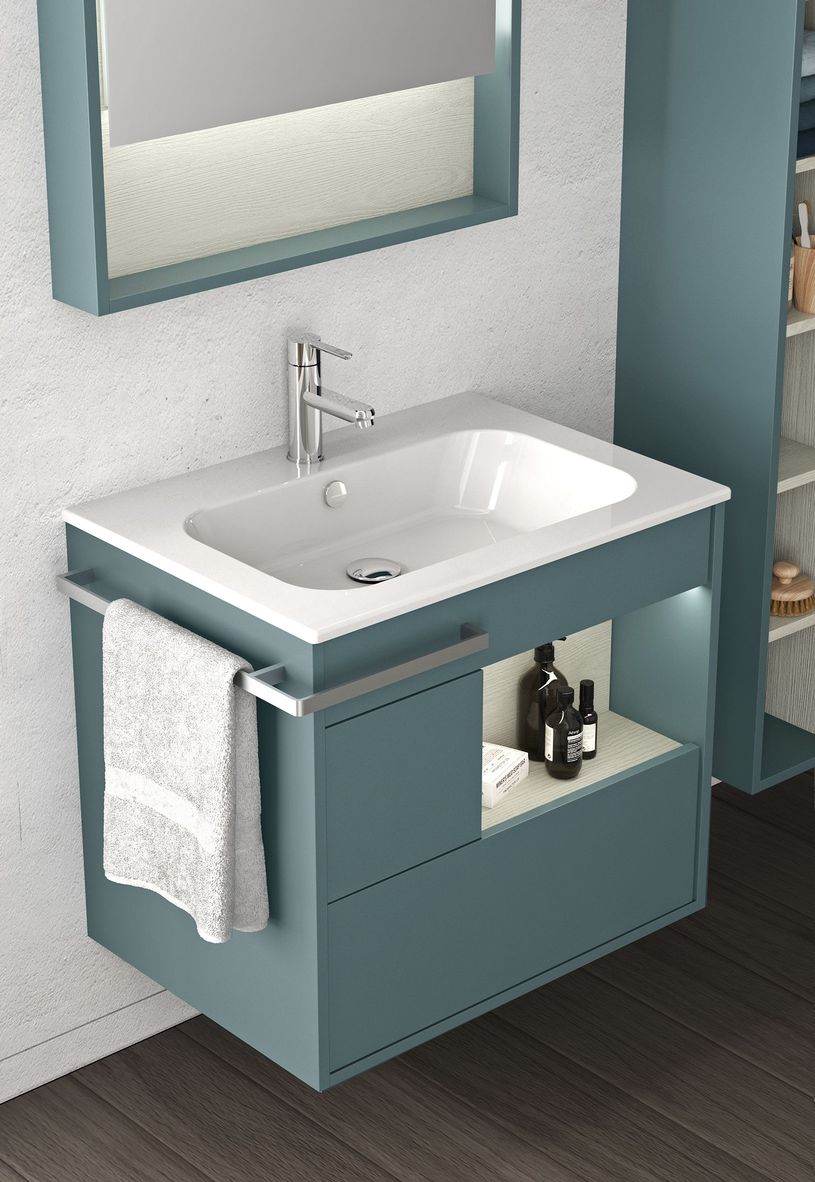 For A Distinctly Minimalist Effect The Vanity Can Be Wall Mounted And Equipped With Handleles Washbasin Design Bathroom Interior Design Modern Small Bathrooms