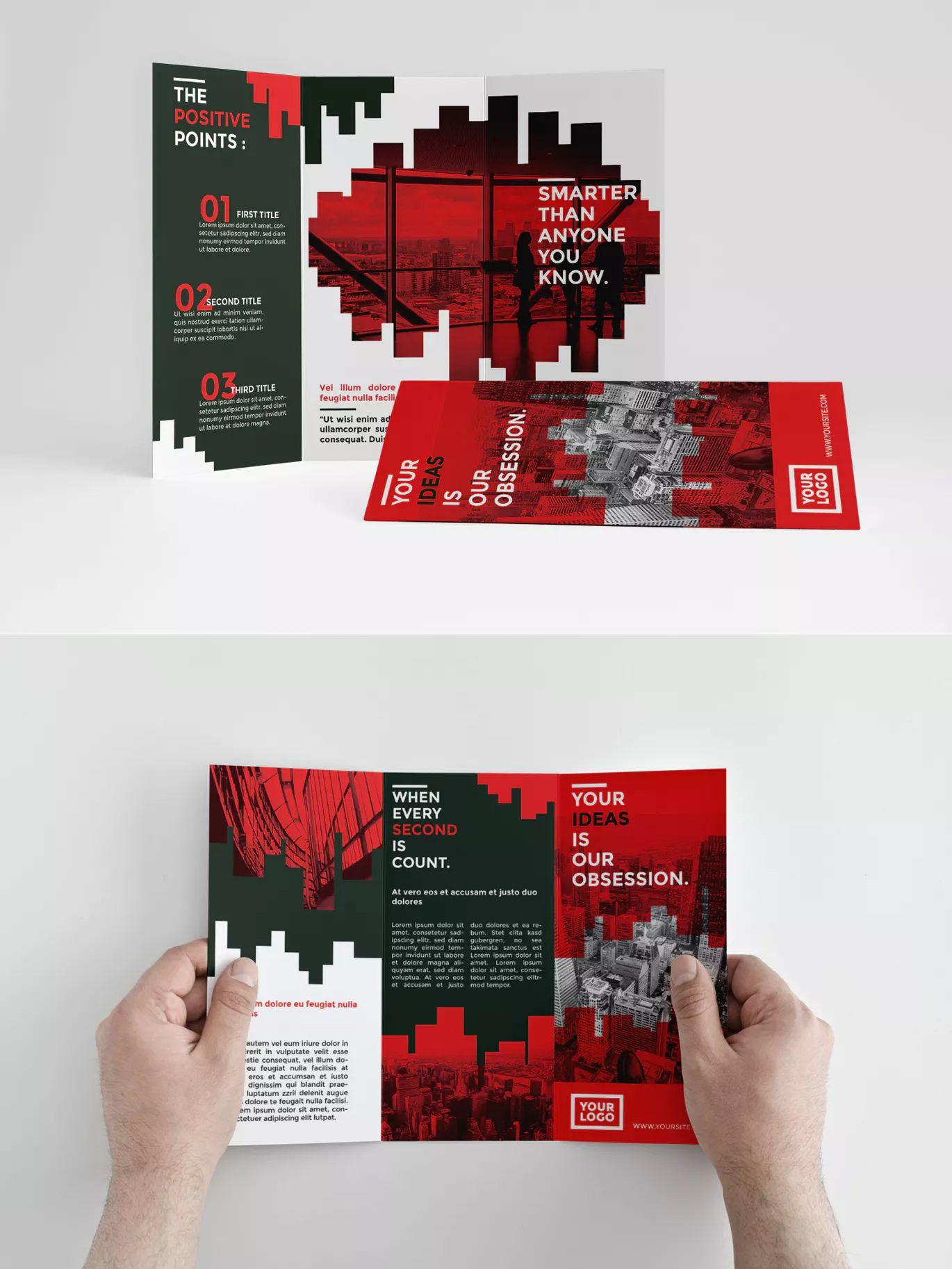 Red Bar Tri-Fold Brochure Template InDesign INDD • Download