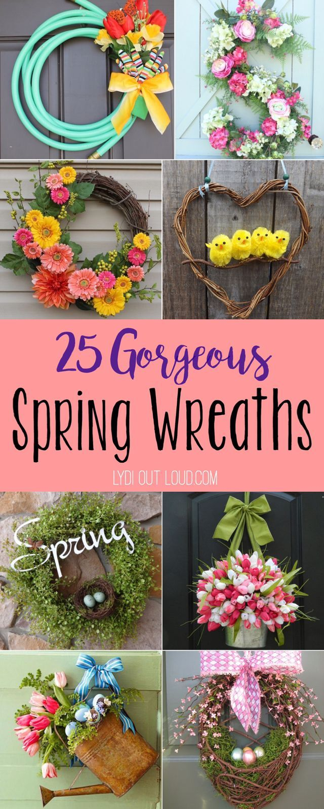 25 gorgeous spring wreaths! I am so excited for warm spring weather cute spring front porch decor.