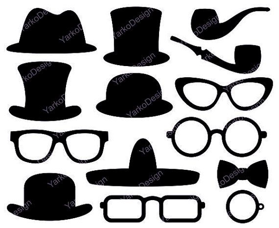 Top Hat Clip Art Glasses Monocle Bow Tie Little Man by YarkoDesign, $3.99