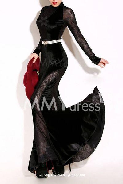Sexy Round Neck Velour Long Sleeve Maxi Dress For Women