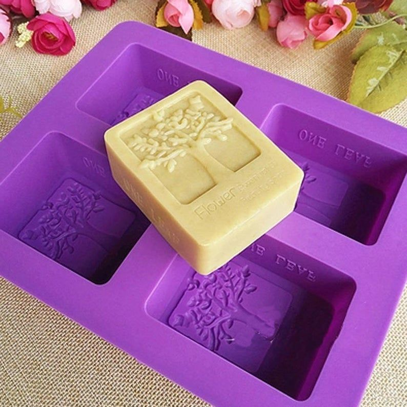 4 Cavity Handmade Making Soap Silicone Molds Cake Candy Tray Soap Mould DIY Tool