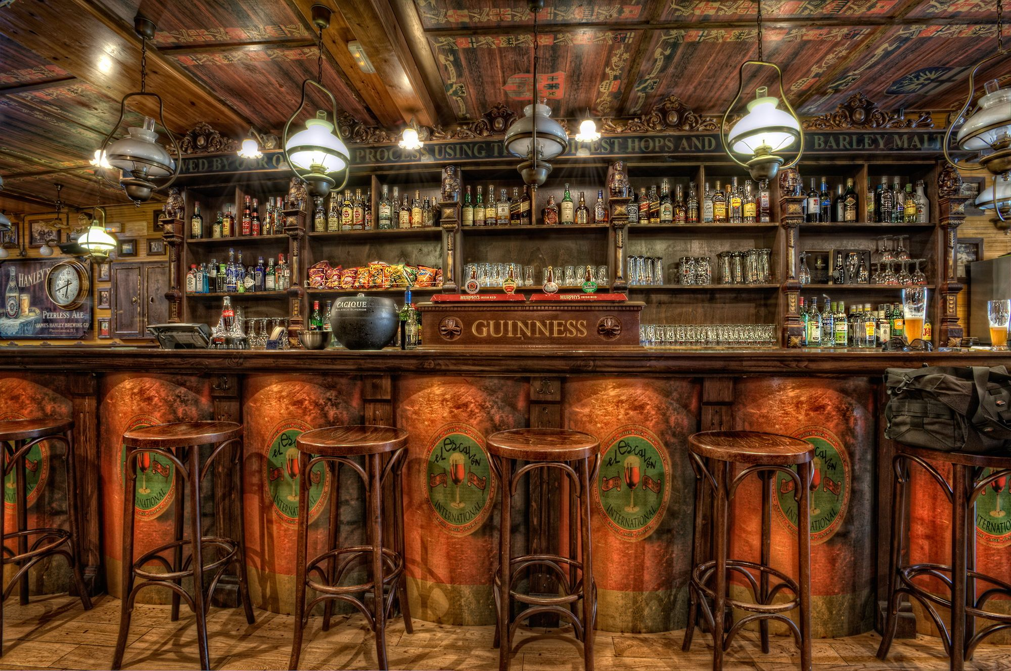 Old Western Home Bars Chairs Ceiling Hdr Design Wooden Bar