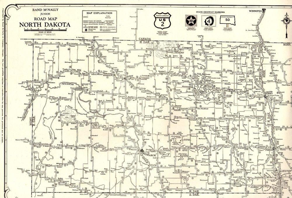 1927 Antique North Dakota Map Poster Print Size North Dakota Road ...