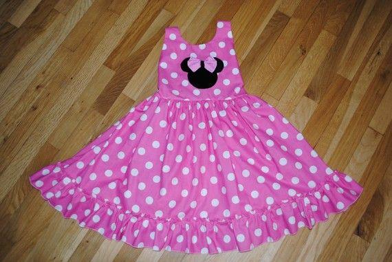 Gorgeous Custom Boutique Minnie Mickey Mouse Disney Twirl Dress 12m/ 8yr. $34.00, via Etsy.