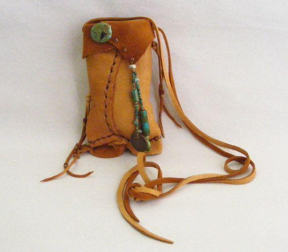 1904 Indian Head Penny Deerskin Leather Medicine Bag Spirit Pouch