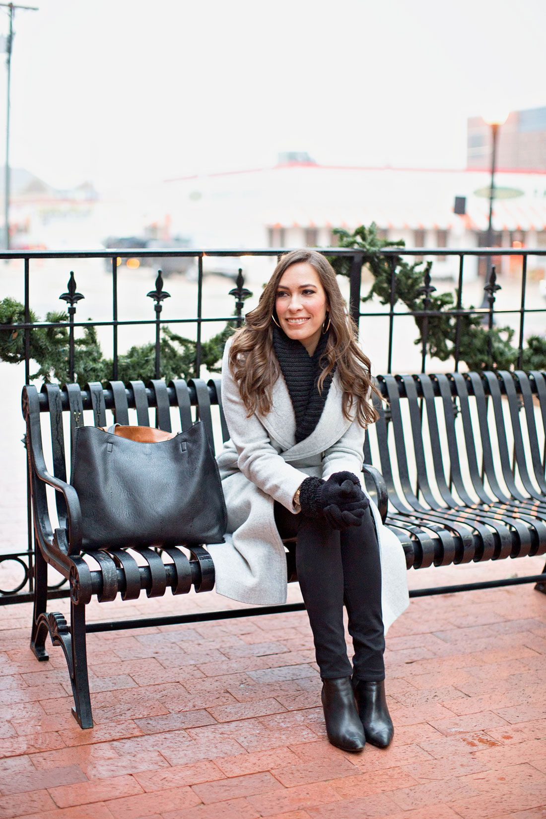 Amanda from A Glam Lifestyle fashion blog enjoys historic downtown Plano  Texas wearing Club Monaco Daylina coat and Nordstrom reversible tote with  ASKA ... a7b138e1ba1