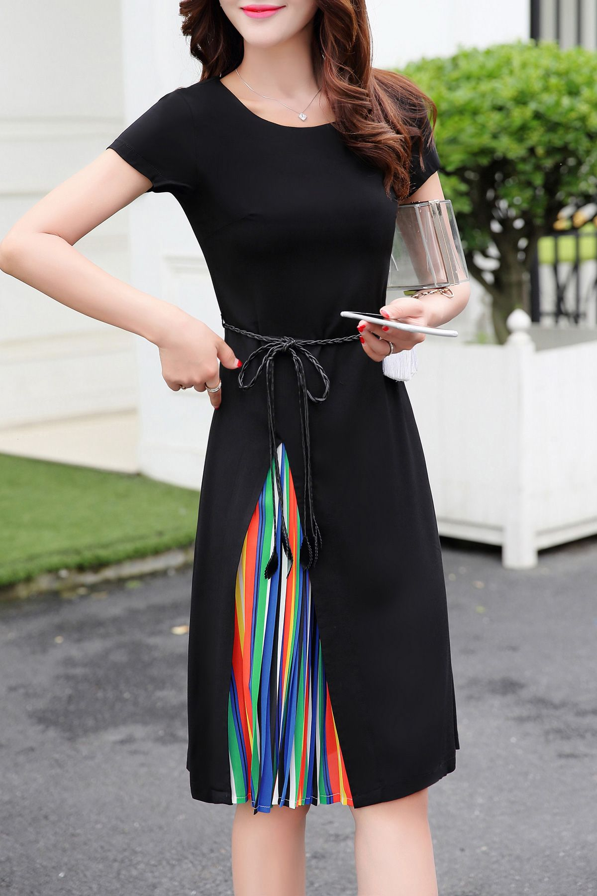 Rainbow Color Spliced Dress Cheap Dresses Casual Fashion Fashion Outfits [ 1800 x 1200 Pixel ]