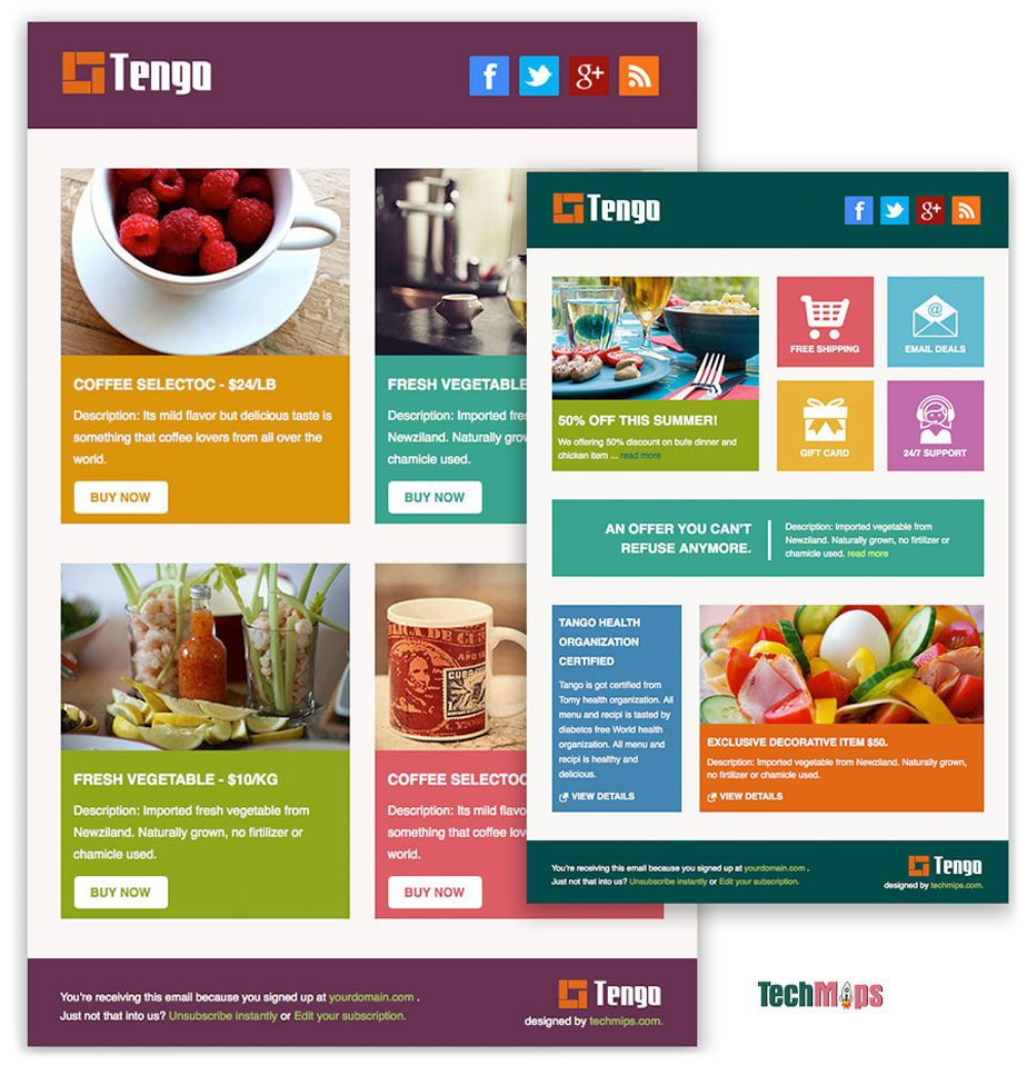 tengo is a free responsive html email template designed for ecommerce and other general use - Free Email Newsletter Templates