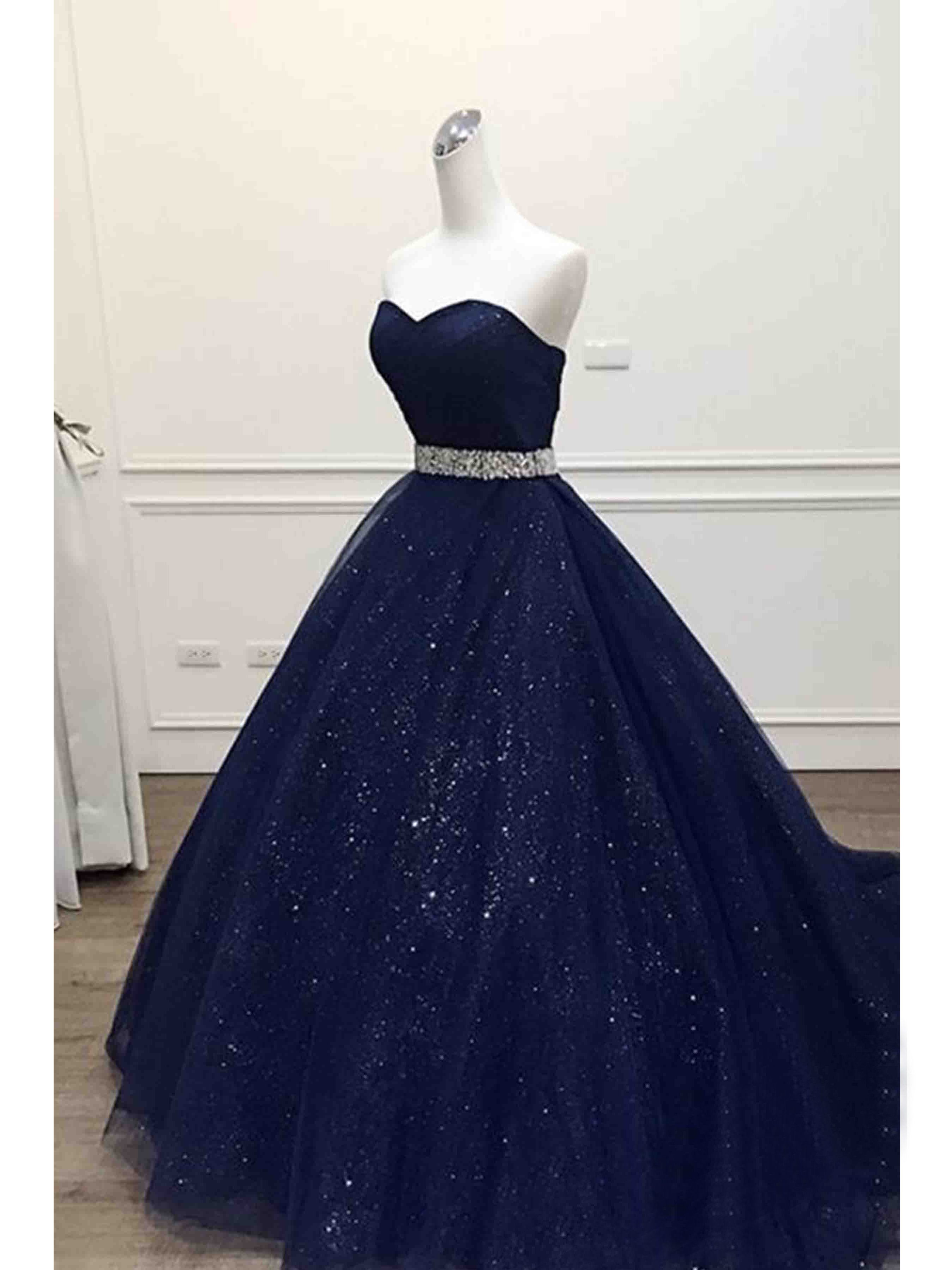 93da03383eb Ball Gown Prom Dresses Sweetheart Sequins Dark Navy Long Prom Dress Evening  Dress JKL193