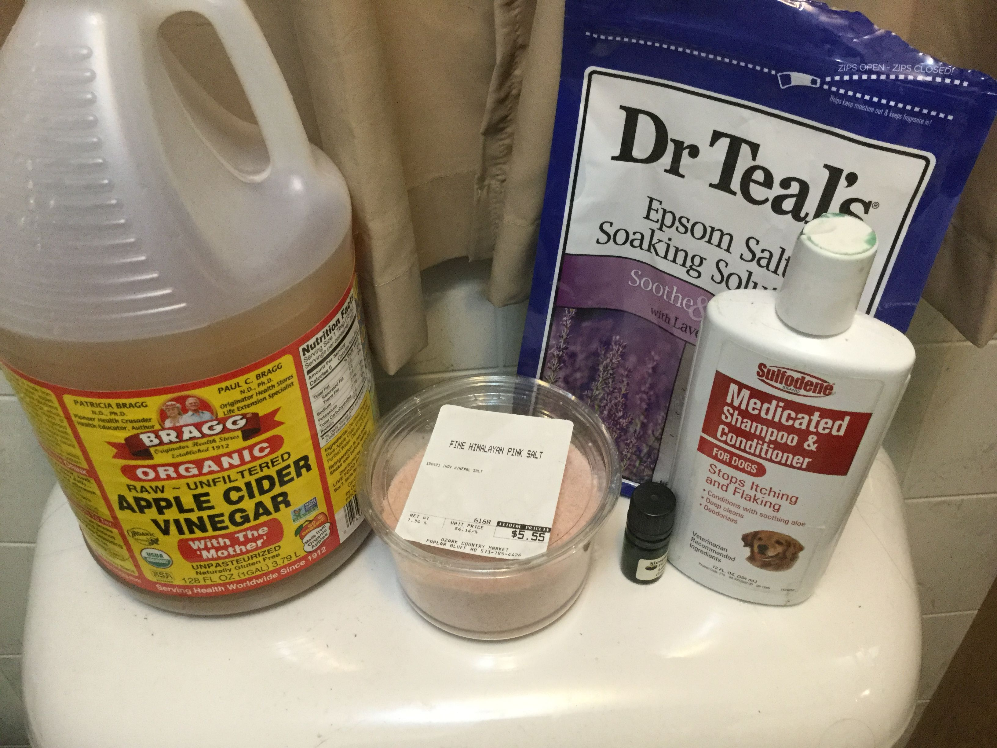 Dog Bath Time Bragg Apple Cider Vinegar Himalayan Pink Salt