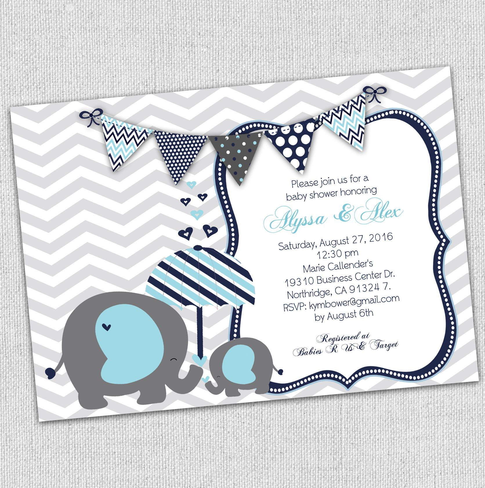 Baby boy elephant baby shower invitation, elephant shower ...