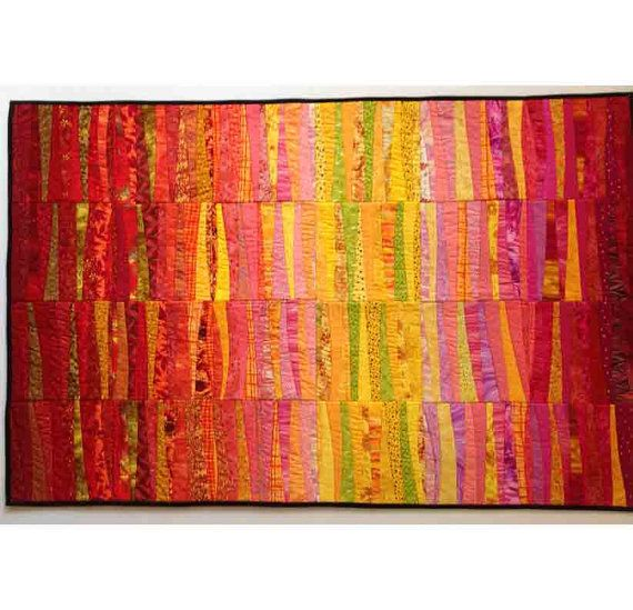 Dawn quilted wall hanging abstract textile art modern for Modern house quilts