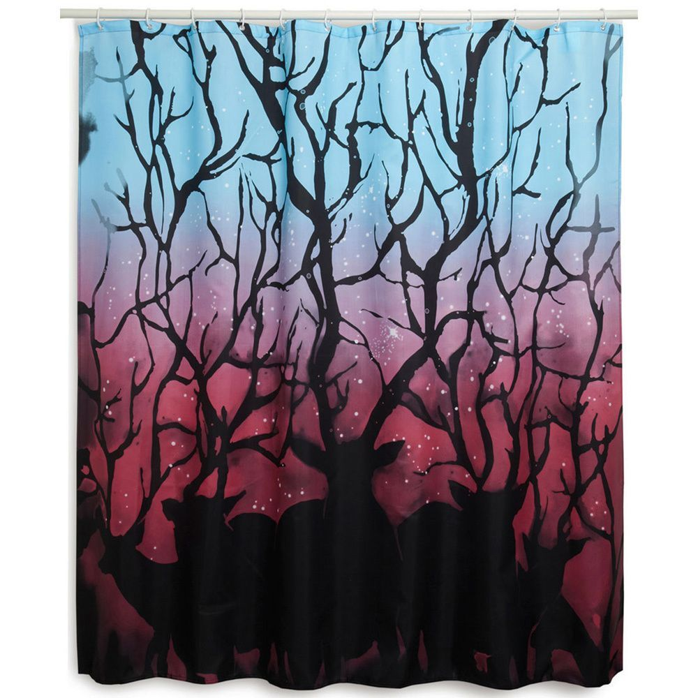 Create A Whimsical Look In Your Bathroom Retreat With This Beautiful Mural Like Shower Curtain Featuring Starry Dusk Scene Dark Deer Silhouettes