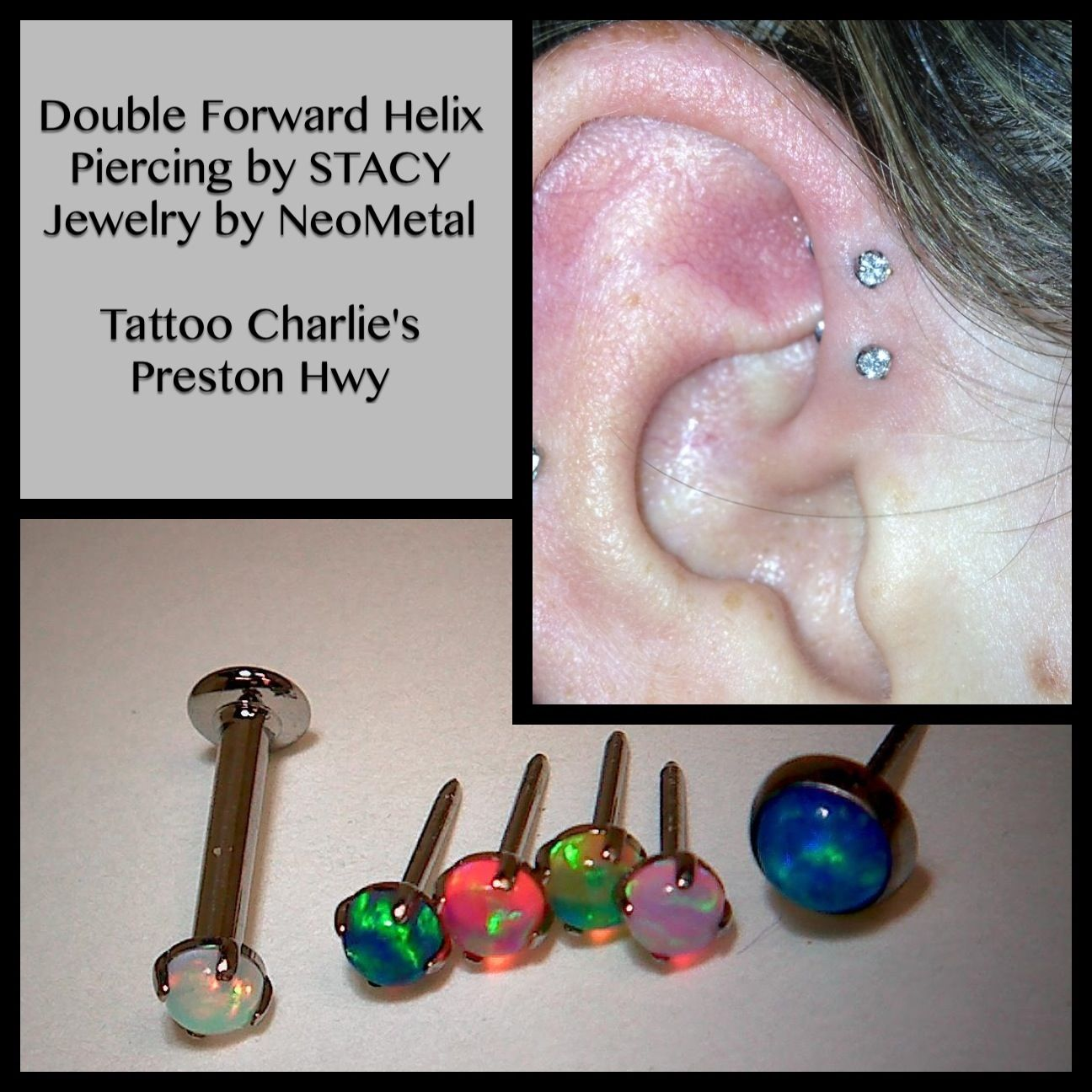 c8ee9bcd2 Double forward helix piercing by STACEY - Tattoo Charlie's Preston Hwy  Jewelry by NeoMetal - 2mm clear cz gems.