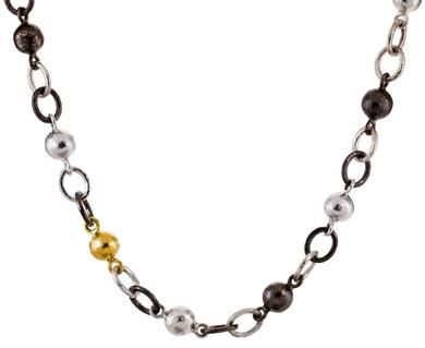 Sterling Silver layered with Blackened Silver and 24K Gold Balloon Necklace by GURHAN