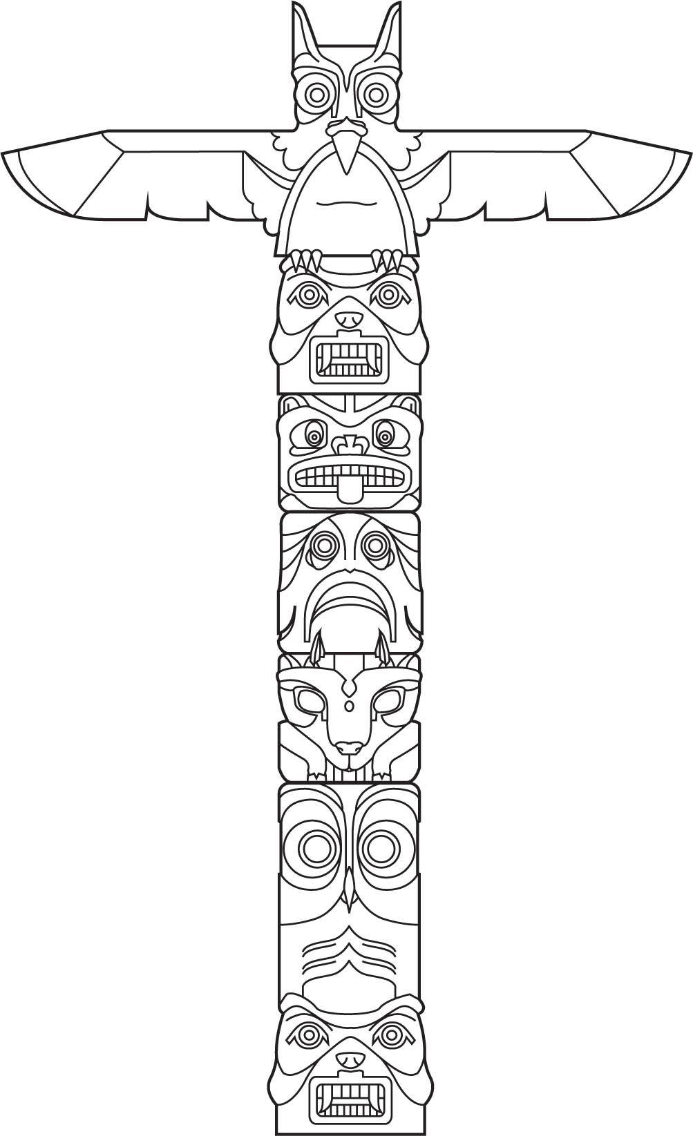 Totem Vector Art Indianische Symbole Totempfahl Amerikanische Symbole