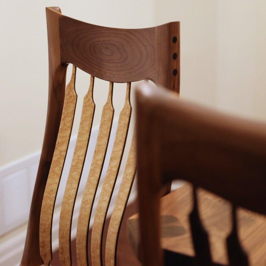 custom dining chair walnut Birdseye maple crest rail detail | Live ...