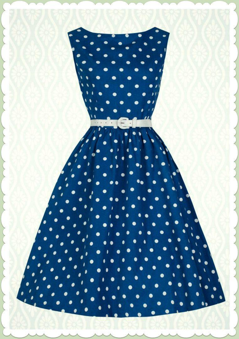 40f3eb9a334fa4 Lindy Bop 50er Jahre Rockabilly Petticoat Punkte Kleid - Audrey - Blau
