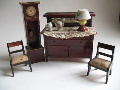 Antique Dollhouse Furniture Buffet Chairs