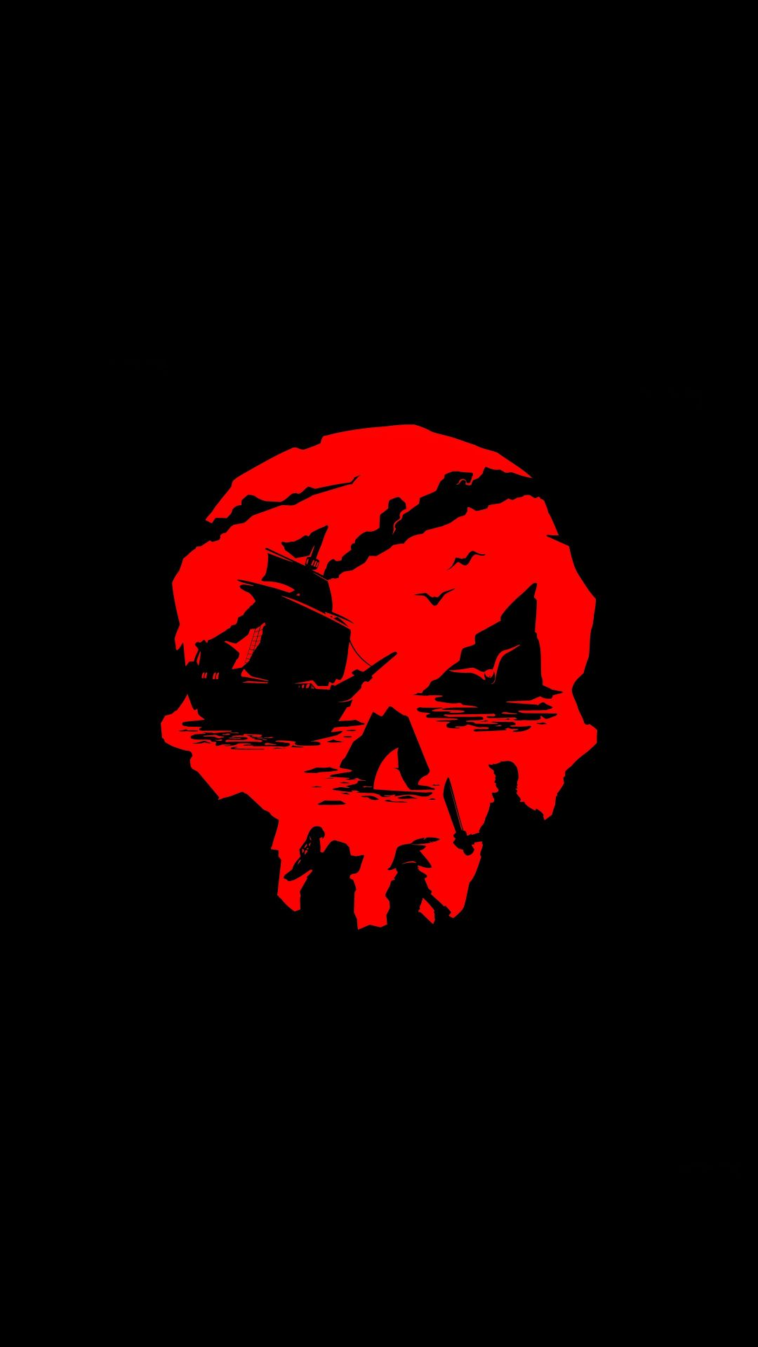 Sea of Thieves, Video game, red skull, art, 1080x1920 wallpaper